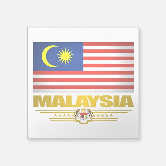 """Malaysia (Flag 10) 2.png Square Sticker 3"""" x 3"""""""