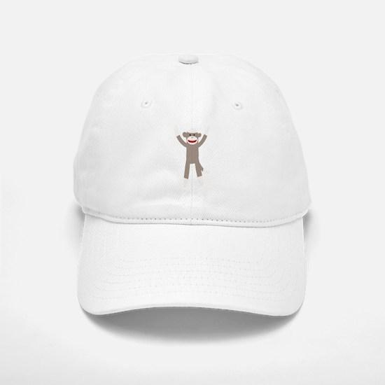Excited Sock Monkey Baseball Baseball Cap