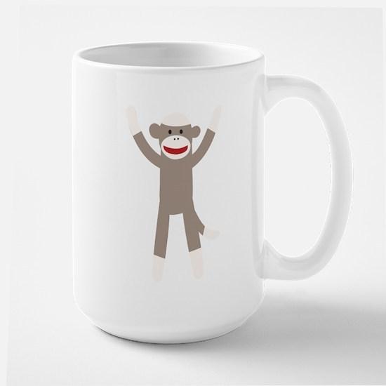 Excited Sock Monkey Large Mug