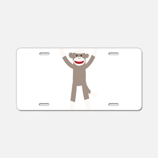Excited Sock Monkey Aluminum License Plate