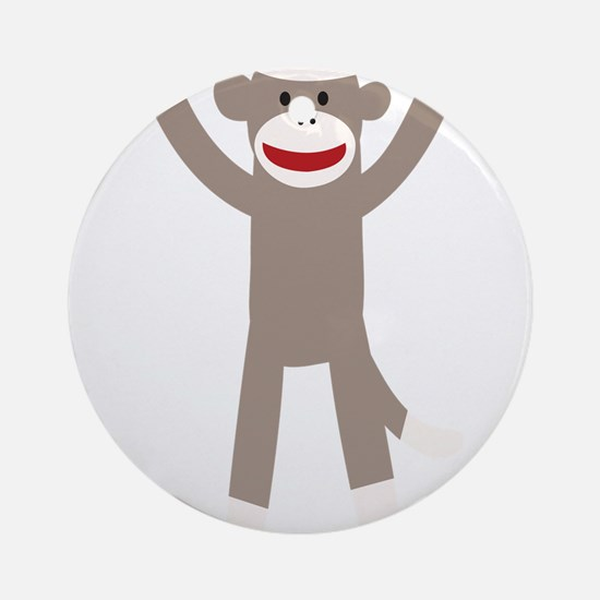 Excited Sock Monkey Ornament (Round)