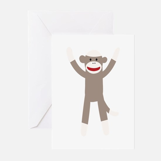 Excited Sock Monkey Greeting Cards (Pk of 20)