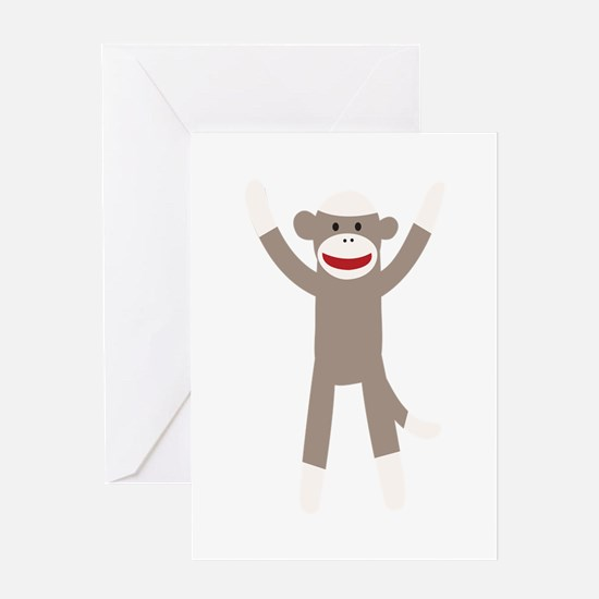 Excited Sock Monkey Greeting Card