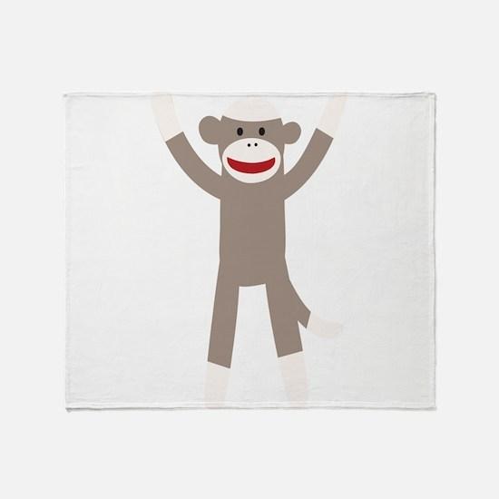 Excited Sock Monkey Throw Blanket