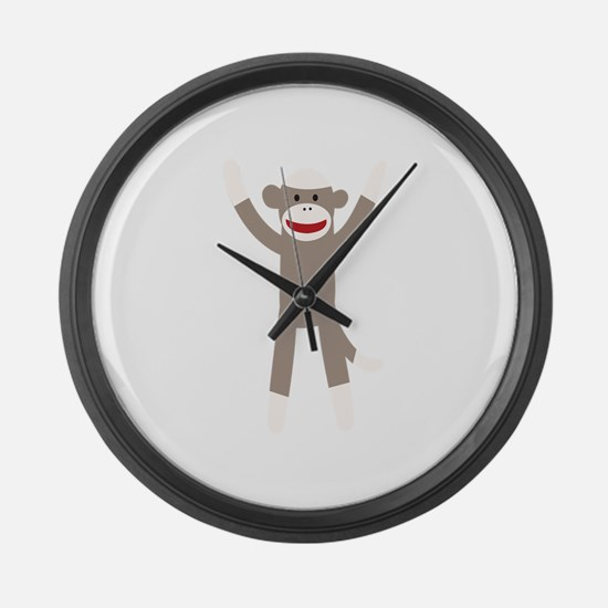 Excited Sock Monkey Large Wall Clock