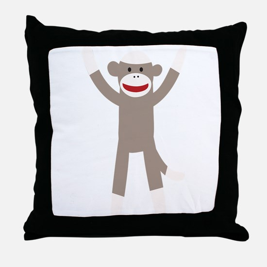 Excited Sock Monkey Throw Pillow