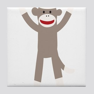 Excited Sock Monkey Tile Coaster