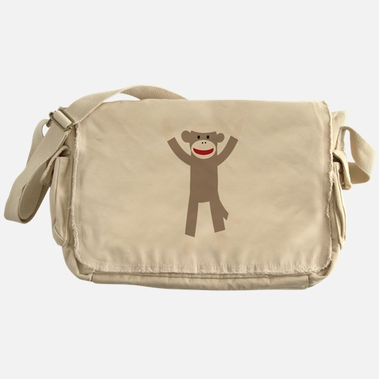 Excited Sock Monkey Messenger Bag