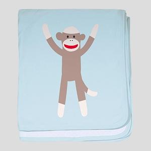 Excited Sock Monkey baby blanket