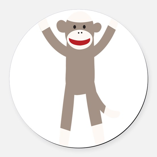 Excited Sock Monkey Round Car Magnet