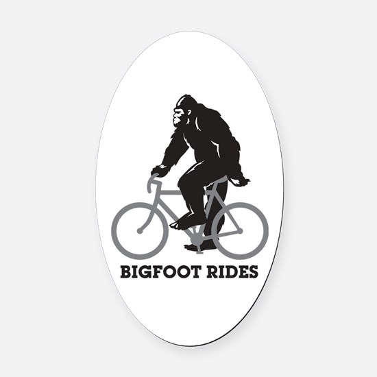 Bigfoot Rides Oval Car Magnet