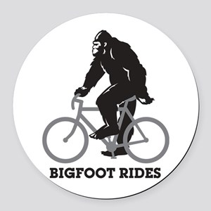 Bigfoot Rides Round Car Magnet