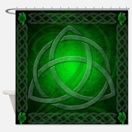 Celtic Knotwork Dragon Green Shower Curtain