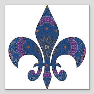 """Alchemy Fleur De Lys Square Car Magnet 3"""" x 3"""""""