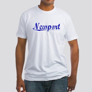 Newport, Blue, Aged Fitted T-Shirt