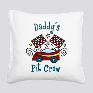 Daddys Pit Crew Square Canvas Pillow
