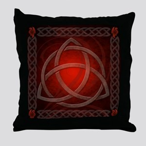 Celtic Knotwork Dragon Red Throw Pillow