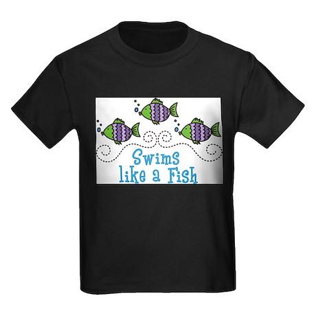 Swims Like A Fish Kids Dark T-Shirt
