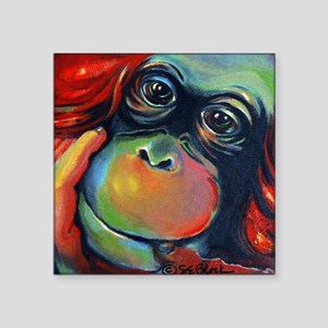 "Orangutan Sam Square Sticker 3"" x 3"""