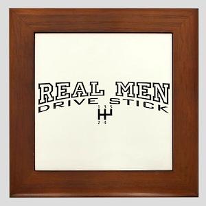 Real Men Drive Stick Framed Tile