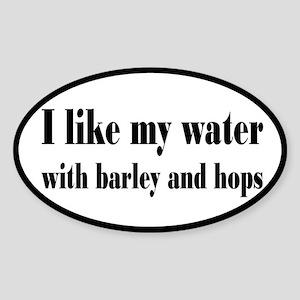 Beer, Barley and Hops Sticker (Oval)