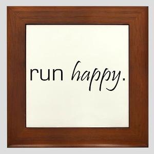 Run Happy Framed Tile
