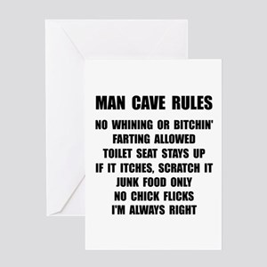Man Cave Rules Greeting Card