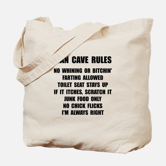 Man Cave Rules Tote Bag