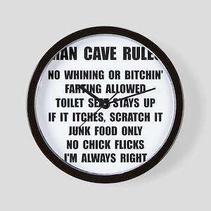 Man Cave Rules Wall Clock