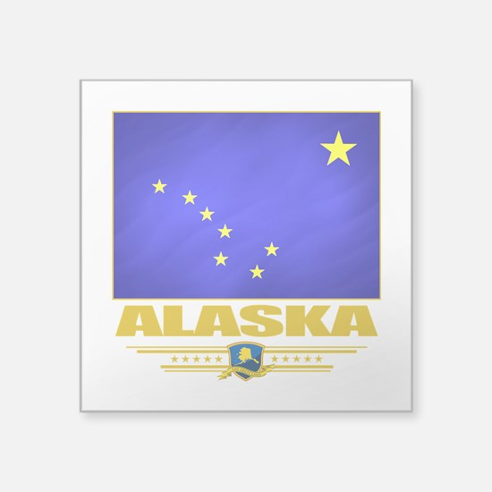 "Alaska (Flag 10).png Square Sticker 3"" x 3"""