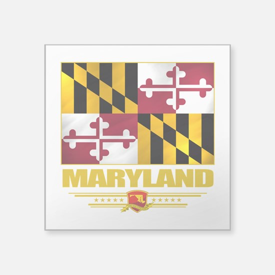 """Maryland (Flag 10).png Square Sticker 3"""" x 3"""""""