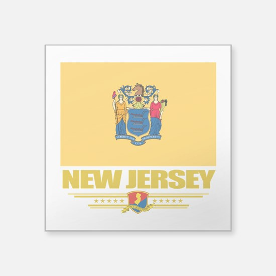 """New Jersey (Flag 10).png Square Sticker 3"""" x 3"""""""