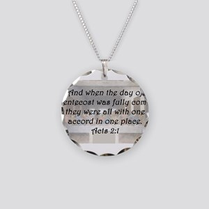 Acts 2:1 Necklace Circle Charm