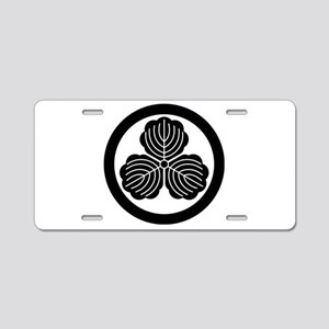 three oak leaves in circle Aluminum License Plate