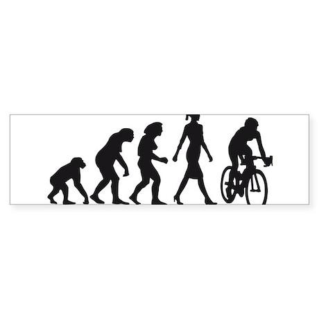 evolution female bicycle racer Sticker (Bumper)