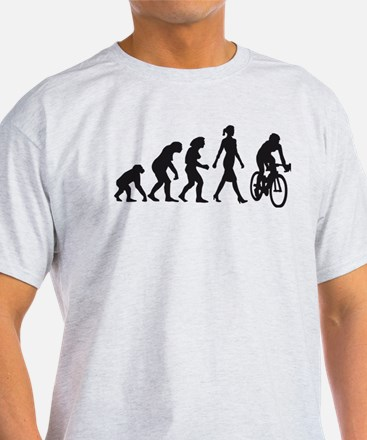 evolution female bicycle racer T-Shirt
