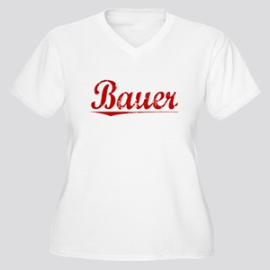 Bauer, Vintage Red Women's Plus Size V-Neck T-Shir