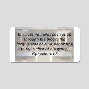 Ephesians 1:7 Aluminum License Plate