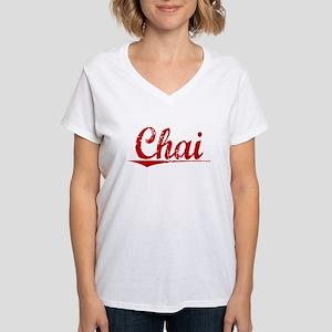 Chai, Vintage Red Women's V-Neck T-Shirt