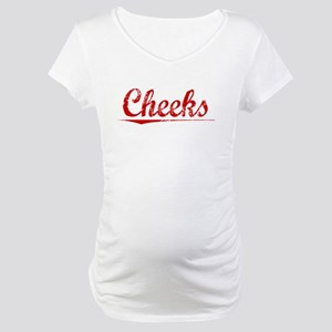 Cheeks, Vintage Red Maternity T-Shirt