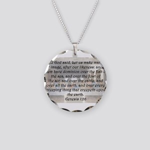 Genesis 1:26 Necklace Circle Charm