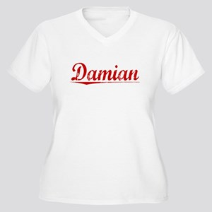 Damian, Vintage Red Women's Plus Size V-Neck T-Shi