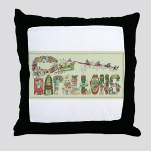 Christmas Papillons and Phalenes Throw Pillow