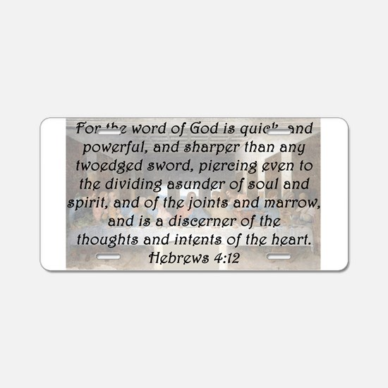Hebrews 4:12 Aluminum License Plate