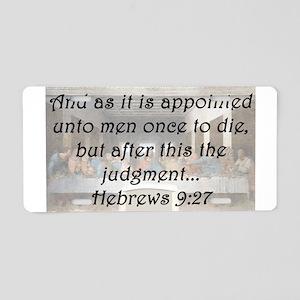 Hebrews 9:27 Aluminum License Plate