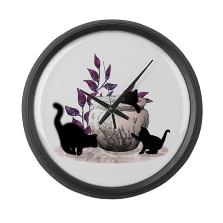 Three Black Kitties Playing Large Wall Clock