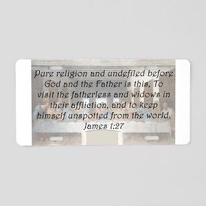James 1:27 Aluminum License Plate