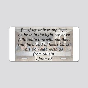 1 John 1:7 Aluminum License Plate