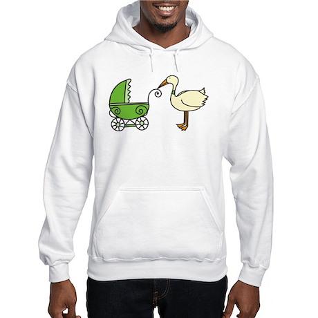Stork With Stroller Hooded Sweatshirt