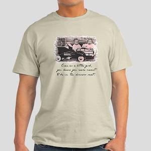 Little Girl and Firetruck Light T-Shirt